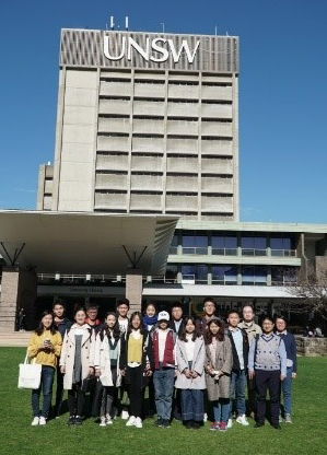 Visiting Tsinghua students in front of the UNSW library building